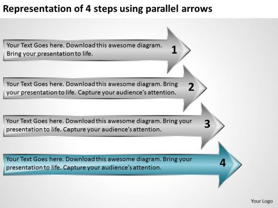 4 Steps Using Parallel Arrows Ppt Business Plan Preparation Service PowerPoint Slides