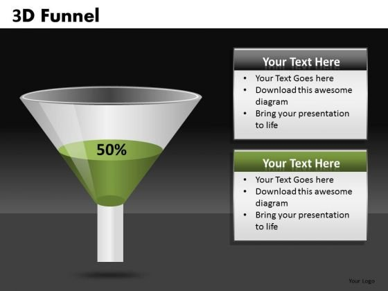 50 Percent 3d Funnel PowerPoint Templates Funnel Slides