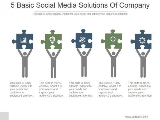 5 Basic Social Media Solutions Of Company Ppt PowerPoint Presentation Slides