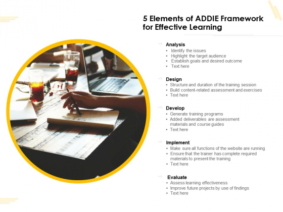 5 Elements Of ADDIE Framework For Effective Learning Ppt PowerPoint Presentation Gallery Slideshow PDF
