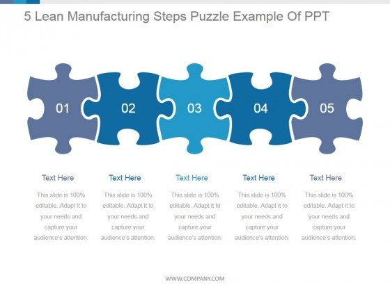 5 Lean Manufacturing Steps Puzzle Ppt PowerPoint Presentation Introduction