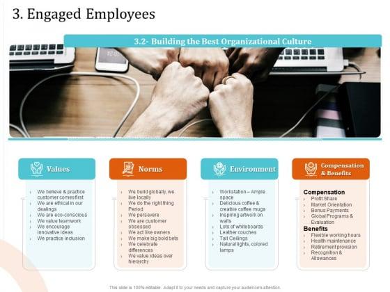 5 Pillars Business Long Term Plan 3 Engaged Employees Slide Benefits Background PDF