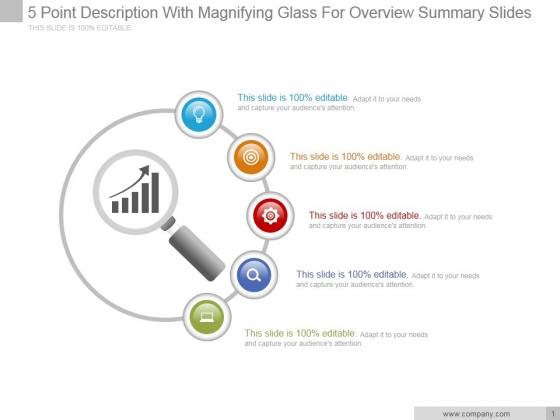 5 Point Description With Magnifying Glass For Overview Summary Ppt PowerPoint Presentation Outline