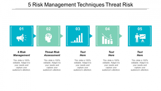 5 Risk Management Techniques Threat Risk Assessment Checklist Ppt PowerPoint Presentation Styles Graphics