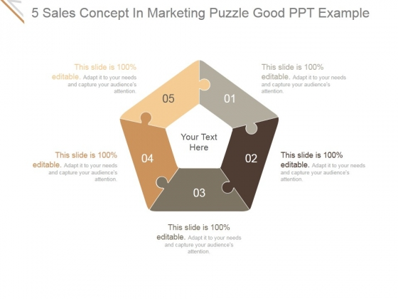 5 Sales Concept In Marketing Puzzle Ppt PowerPoint Presentation Ideas