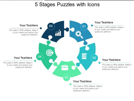 5 Stages Puzzles With Icons Ppt PowerPoint Presentation Ideas Files