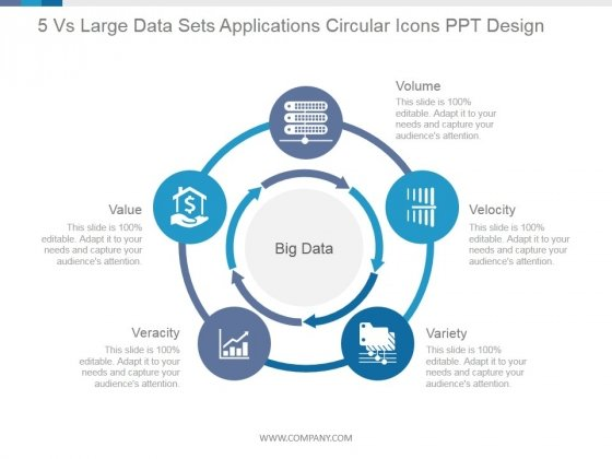 5 Vs Large Data Sets Applications Circular Icons Ppt PowerPoint Presentation Picture