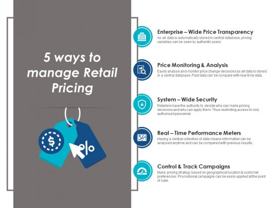5 Ways To Manage Retail Pricing Ppt Powerpoint Presentation Visual Aids Icon