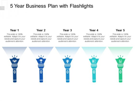 5 Year Business Plan With Flashlights Ppt Powerpoint Presentation Inspiration Templates Powerpoint Templates