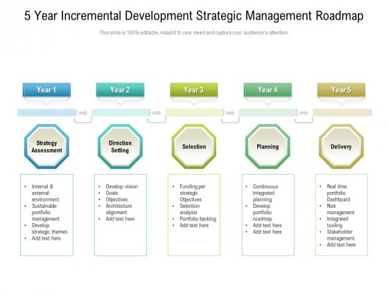5_Year_Incremental_Development_Strategic_Management_Roadmap_Infographics_Slide_1