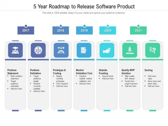 5 Year Roadmap To Release Software Product Mockup