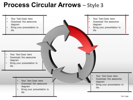 5 Arrows Circle Process Flow Diagram PowerPoint Slides