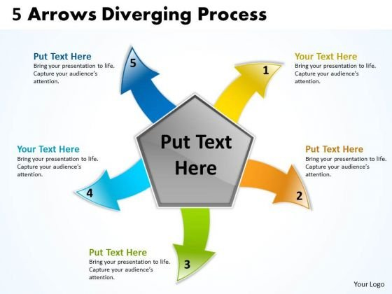 5 Arrows Diverging Concept Process Pie Network PowerPoint Slides