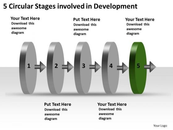 5 Circular Stages Involved Development Ppt New Product Flow Chart PowerPoint Slides
