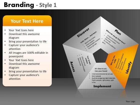 5 Components Pentagon Process Diagram Editable PowerPoint Slides