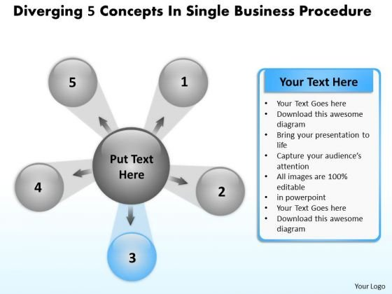5 Concepts In Single Business PowerPoint Theme Procedure Target Diagram Templates