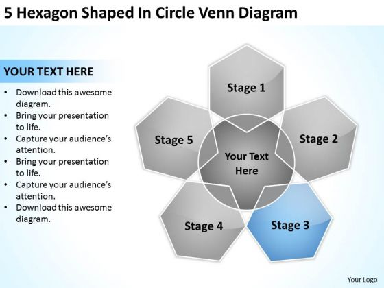 5 Hexagon Shaped In Circle Venn Diagram Business Plan PowerPoint Slides
