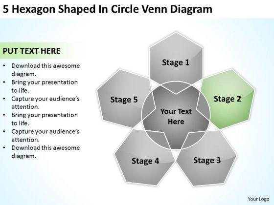 5 Hexagon Shaped In Circle Venn Diagram Help Me Write Business Plan PowerPoint Templates