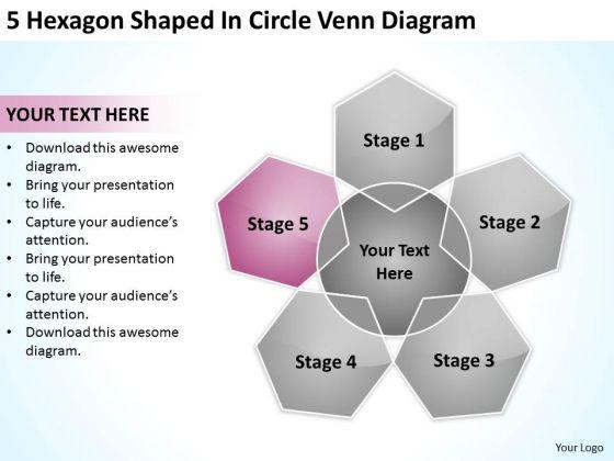 5 Hexagon Shaped In Circle Venn Diagram Ppt Business Financial Plan PowerPoint Templates