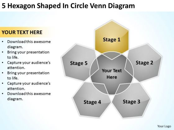5 Hexagon Shaped In Circle Venn Diagram Ppt Business Plan Downloads PowerPoint Slides