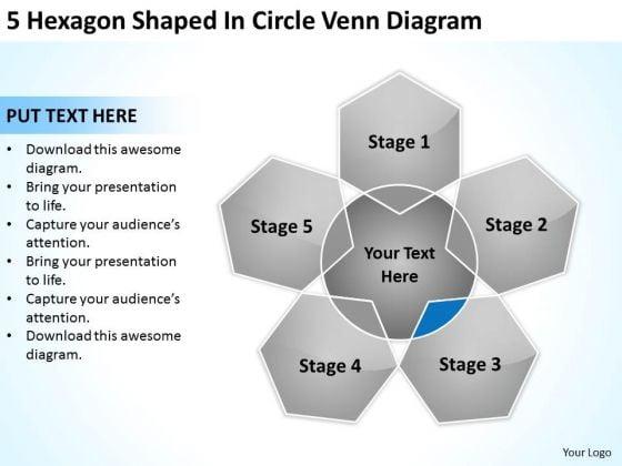 5 Hexagon Shaped In Circle Venn Diagram Ppt Business Plan PowerPoint Slide