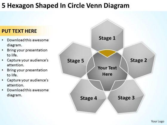 5 Hexagon Shaped In Circle Venn Diagram Ppt Business Plan PowerPoint Slides