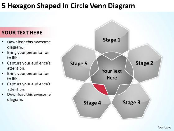5 hexagon shaped in circle venn diagram ppt how to do business, Modern powerpoint