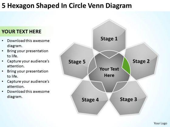 5 Hexagon Shaped In Circle Venn Diagram Successful Business Plan PowerPoint Slides