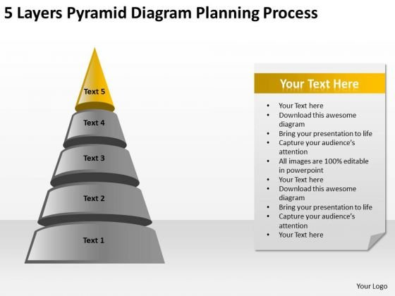 5 Layers Pyramid Diagram Planning Process Ppt How To Type Business PowerPoint Templates
