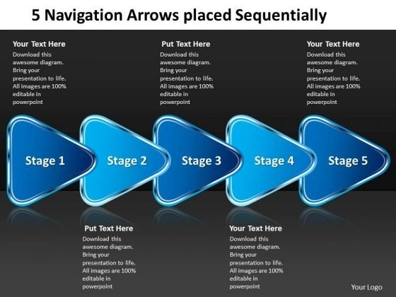 5 Navigation Arrows Placed Sequentially Schematic Design PowerPoint Templates