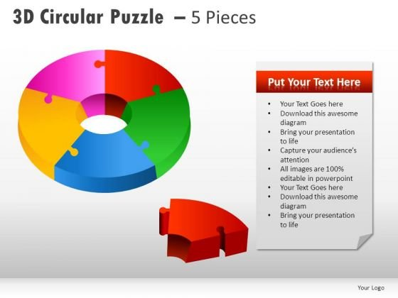 5 Piece Business Process Puzzle PowerPoint Slides And Ppt Diagram Templates