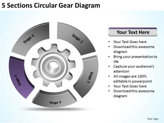 5 Sections Circular Gear Diagram Detailed Business Plan PowerPoint Templates