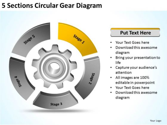 5 Sections Circular Gear Diagram How To Do Business Plan PowerPoint Templates