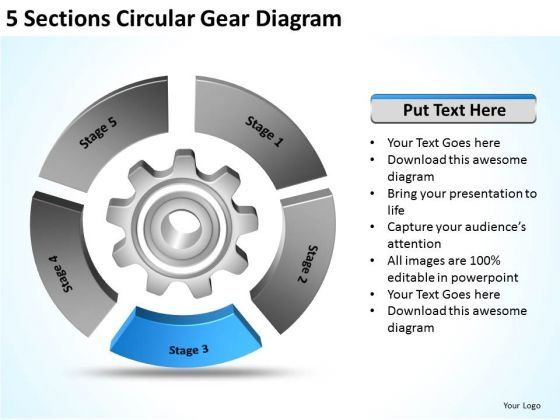 5 Sections Circular Gear Diagram Making Business Plan Template PowerPoint Templates