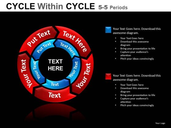 5 Stage 2 Layers Circular Process Chart PowerPoint Slides