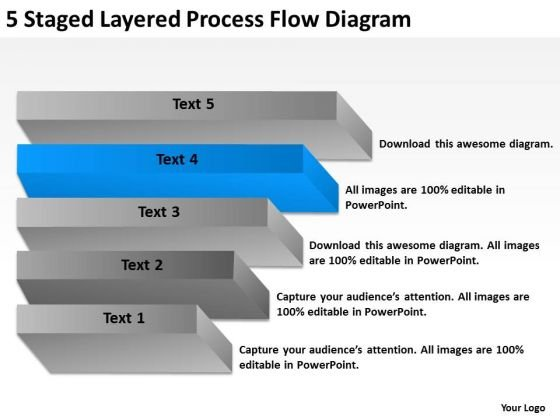 5 Staged Layered Process Flow Diagram Ppt Business Plan Consultant PowerPoint Slides