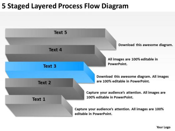 5 Staged Layered Process Flow Diagram Ppt Examples Of Business Plan PowerPoint Templates