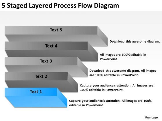 5 Staged Layered Process Flow Diagram Ppt Strategic Business Planning PowerPoint Slides