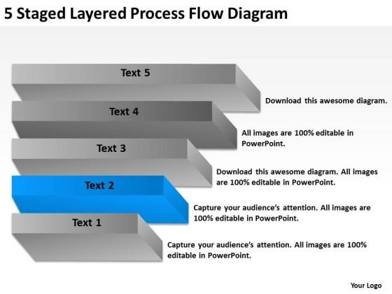 5 Staged Layered Process Flow Diagram Ppt Writing Simple Business Plan PowerPoint Slides