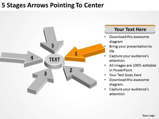 5 Stages Arrows Pointing To Center Doing Business Plan PowerPoint Templates