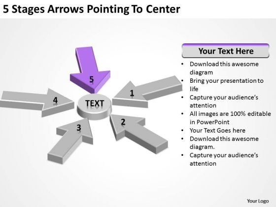5 Stages Arrows Pointing To Center Quick Business Plan PowerPoint Templates