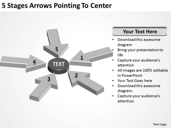 5 Stages Arrows Pointing To Center Retail Business Plan PowerPoint Slides