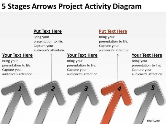 5 Stages Arrows Project Activity Diagram Business Planning Templates PowerPoint