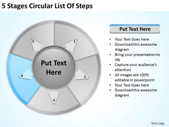 5 Stages Circular List Of Steps Business Plan For Dummies PowerPoint Templates