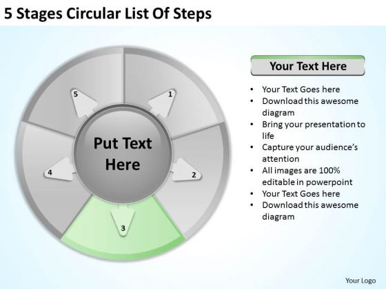 5 Stages Circular List Of Steps Business Plan Sample PowerPoint Templates