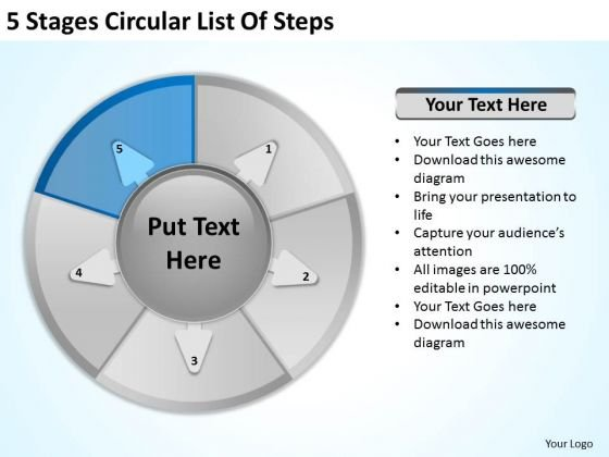 5 Stages Circular List Of Steps How To Start Business Plan PowerPoint Slides