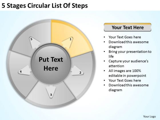 5 Stages Circular List Of Steps Sample Business Plans For Small PowerPoint Slides