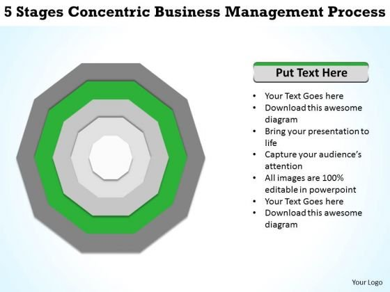 5 Stages Concentric Business Management Process Plan PowerPoint Templates