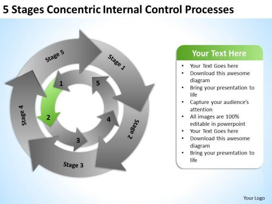 5 Stages Concentric Internal Control Processes Business Plan Sample PowerPoint Slides