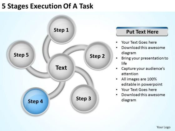 5 Stages Execution Of Business Plan Template Free PowerPoint Templates
